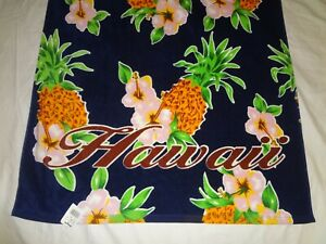 "NWT Hilo Hattie Hawaii Hawaiian Pineapple Floral Beach Towel 59"" x 31"""