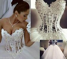 Crystal Rhinestones Beaded Ball Gown Wedding Dresses White Tulle Bridal Gowns