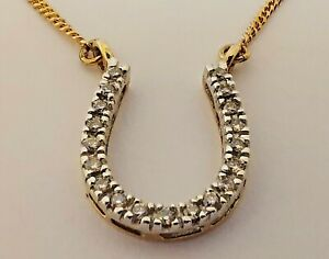 "9ct 375 GOLD DIAMOND HORSESHOE PENDANT & CHAIN yellow fine curb 16.75""  3.8g"