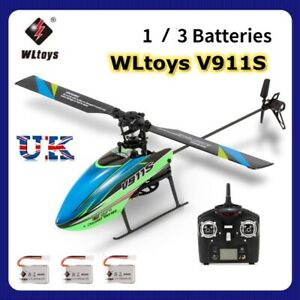 Flybarless WLtoys V911S 2.4G 4CH 6Aixs 1 Blade Flybarless RC Helicopter 3Battery