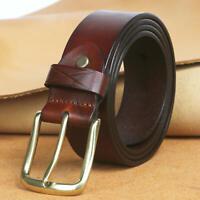 Tourbon Brown Genuine Leather Belt Mans Buckle Waistband Waist Strap Vintage