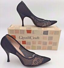 Vintage 1960s Qualicraft Black Crochet Mesh Flared Heels Pumps 6.5AAA USA A14