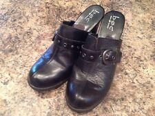 Womens Born Concept Heeled Clog Shoe Open Back Black Leather EU 42 US 10 #C14303