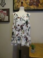 Kori America Women's Ivory Purple Teal Floral Strappy Tunic Top Size Large NWT