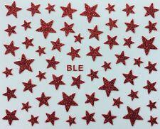 Nail Art 3D Glitter Decal Stickers Red Stars Glittery
