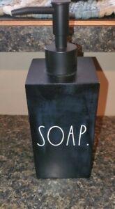 Rae Dunn SOAP Dispenser RARE Ceramic Black Matte Pump Farmhouse  NEW