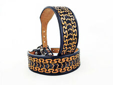 """12"""" BLACK & TAN WESTERN STYLE FULLY TOOLED LEATHER CANINE DOG K9 COLLAR SMALL"""