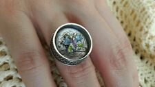 Victorian Carved MOP Button Gemstone Butterfly Sterling Silver Ring size 6½