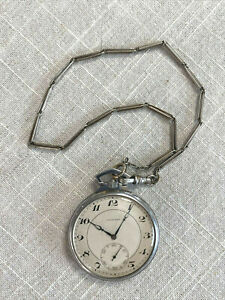 Vintage Stainless LONGINES Pocket Watch WITH FOB  Working at time of listing