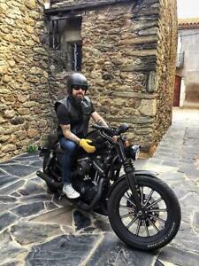 BUSA Revolver Vest Motorcycle Waistcoat Gun Pocket Harley Leather Cut Zip Close