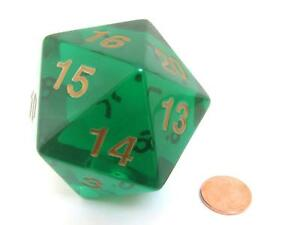 Koplow 55mm Translucent Green w/ Gold D20  for Magic the Gathering, D&D & D20