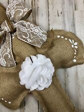 Burlap & white lace farmhouse style large wall hanging Christian cross decor