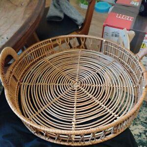 round wicker basket with handles vintage retro