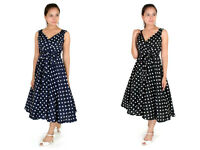 New Ladies Dress 50's Prom Swing Vintage Rockabilly Party Polka Dot Size 10 -18