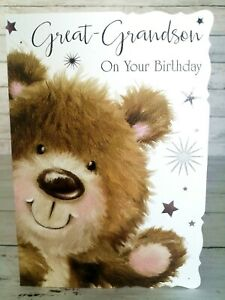 Great-Grandson On Your Birthday, Card With Cute Bear
