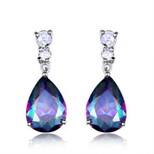 Mystic Teardrop Rainbow Topaz Drop Dangle Hook Zirconia Earrings Silver Jewelry
