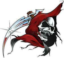 RED HOODED SKULL - DECAL 200mm x 180mm - CAR DECAL