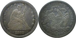 1877-S/S 25C Liberty Seated Quarter Very Fine Details