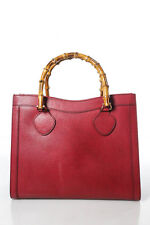 Gucci Vintage Red Leather Bamboo Tote Handbag