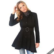 UK Ladies Classic Asymmetric Mac Jacket Womens Military Belted Trench Coat Black 10