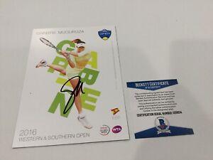 Garbine Muguruza Signed Autographed 5x7 W&S Tennis Card Beckett BAS COA a