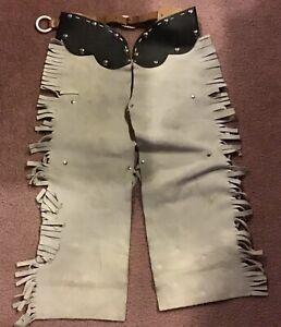 Vintage Antique Child Cowboy Leather Chaps Fringe