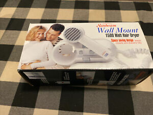 Sunbeam Wall Mount 1500 Watt Hair Dryer Vintage Model 1626-20 New in Box Free Sh