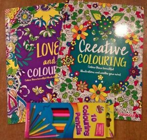 Set of 2 A4 love and creative adult colouring books plus 10 colouring pencils