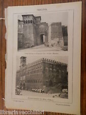 antica foto da incorniciare PERUGIA PORTA ETRUSCA D AUGUSTO PALAZZO COMUNALE di