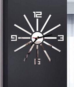 "NEW 18""-24"" 3D Silver Mirrored Surface Sunburst Acrylic Modern Wall Clock"