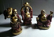 3er Set Buddha - Figuren Happy Buddha - Feng Shui Glücksbuddhas - Weinrot Gold
