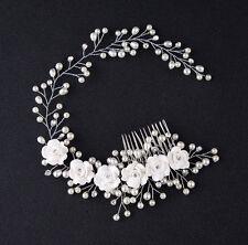 NEU Braut Hochzeit Perlen Haarschmuck Kette Blüte Blume Diadem Haarkamm Haarband