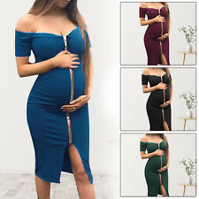 Women Mom Pregnancy Off Shoulder Party Zipper Solid Dress Maternity Clothes US