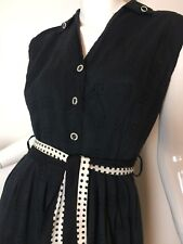 VTG 1960s 1970s Black Sleeveless Belted Wiggle Pencil Cocktail Dress 👗 Sm