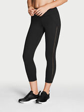 NEW $66.50 XS KNOCKOUT BY VICTORIA 's Secret CAPRI Black Mesh Workout Leggings