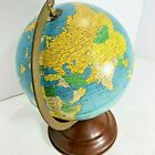 """Vintage Globe 8"""" REPLOGLE Simplified Metal Tin Made in USA Rotates On Stand"""