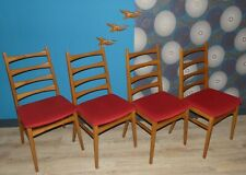 Set von 4 Stück 60er Stuhl Eßzimmerstuhl Sprossenstuhl feine Lehne Bezug rot