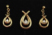 10kt Solid Yellow Gold & Diamond Knot Pendant & Earring Set, #D66