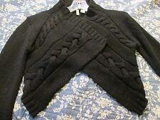 MOTH Anthropologie Womens Black Wool Open Front Shrug Short Cardigan Sweater S