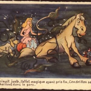 SCARCE..! DISNEY.CINDERELLA COACH TURNS TO PUMPKIN,HORSE,MICE,SUPERLUXE,POSTCARD
