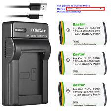 Kastar Battery Slim Charger for Kodak KLIC-8000 & KODAK Pocket Video Camera ZXD