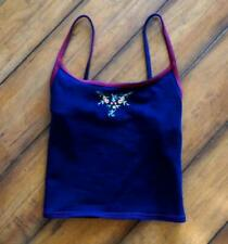 VINTAGE! 1990's SUNSET BEACH ~ Small ~ Embroidered CROPPED Stretch Cotton Tank