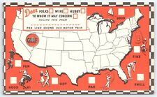 GULF OIL AND GASOLINE ADVERTISING UNITED STATES MAP POSTCARD ISSUED CIRCA 1950