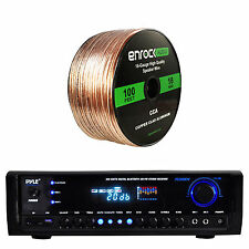 Pyle Bluetooth Home Theater Receiver, Enrock Audio 16-AWG 100FT Speaker Wire