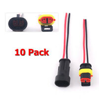 10 Kit 2 Pin 2 Way Waterproof Electrical Connector Plug fit Car Truck Quad Bike