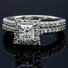 2.44 CT PRINCESS CUT DIAMOND HALO ENGAGEMENT RING 14K WHITE GOLD  ENHANCED