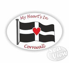Mi corazón en Cornualles Oval pegatina Cornish pegatinas St Piran Bandera coche decal
