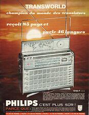 Publicité Advertising 1965 PHILIPS TRANSWORLD  champion du monde des transistors