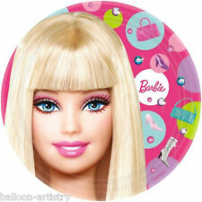 """8 Pink Fashion Barbie Birthday Party 9"""" Disposable Paper Plates"""