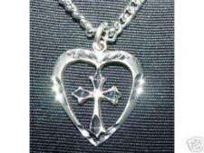 LOOK Silver Celtic Heart Cross Pendant Charm Jesus Jewelry
